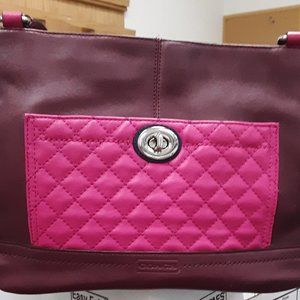 Coach Burgundy Park Quilted Color Carrie Tote